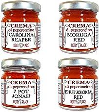 4 CREME ESTREMO Carolina Reaper, Moruga Red, Jonah, Bhut Jolokia - Crema Peperoncino Piccante KIT 120g totali