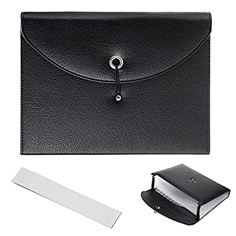 IGNPION PU Leather A4 Expanding Pocket Folder Document Wallet File Organiser Portfolio Business Folder with Elastic Closure (13 Pocket)