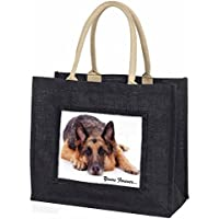 German Shepherd Dog 'Yours Forever' Large Black Shopping Bag Christmas Present I