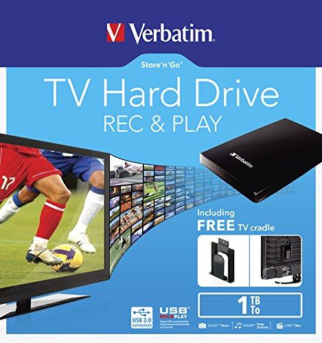 Verbatim externe 2,5'' Festplatte mit 1 TB Speicherkapazität (Einfaches Anbringen hinterm TV möglich - mit eingebauter