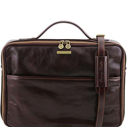 Tuscany Leather Vicenza - Notebooktasche aus Leder mit Reißverschluss Honig Lederaktentaschen Dunkelbraun
