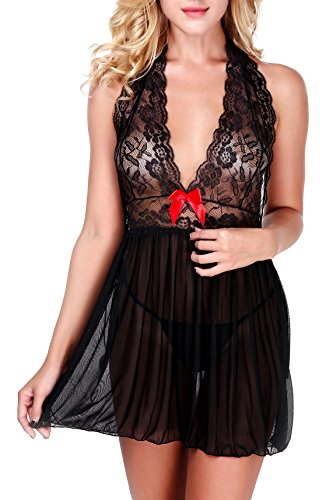 Women's Sleepwears Underwear & Sleepwears Strong-Willed Women Sexy Lingerie Sleeveless Deep V Neck Lace Nightgowns Strappy Babydoll Underwear Nightdress Backless Sleepwear 3 Colors Spare No Cost At Any Cost