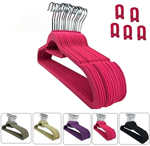 RSR Hangers 25 x Kleiderbügel Samt Pink Erweiterungshaken/Anti-Rutsch/Multifunktionsbügel/Anzugbügel/platzsparend/Hemdenbügel/Blusenbügel/Jackenbügel/Rutschfest/360° drehbarer Haken/25-50 - 100 Stück