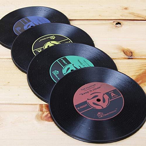 Youtaimei Zufriedenstellendes Produkt Runde Vinyl Coaster Record Design Tasse Kaffee-Getränkematte Hitzebeständig und rutschfest (4er-Set)