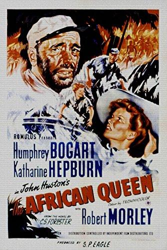 Humphrey Bogart African Queen (The African Queen, Humphrey Bogart, Katharine Hepburn, 1951 - Premium-Filmplakat Reprint 12x18 Inch Ungerahmt)