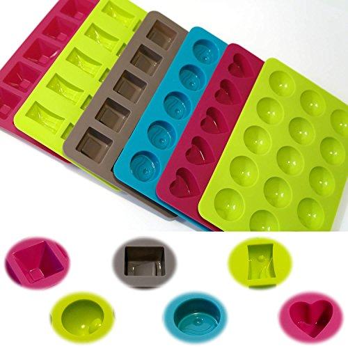 LS 6x Silikon Backform Schokoladenform Eiswürfelformer Pralinen Schokolade Trüffel Muffin Neu