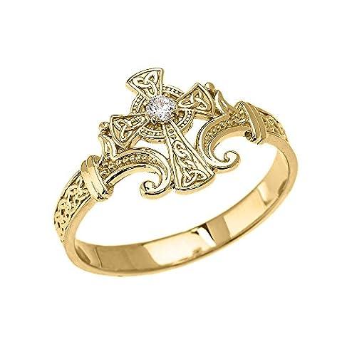 Bague Femme 10 Ct Or Jaune Solitaire Diamant Celtique Croix Trinité