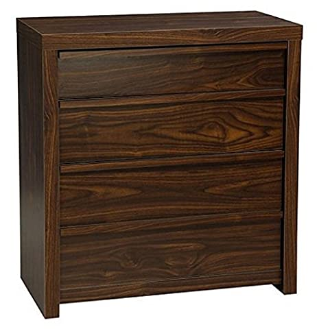 Home Source - Chest of 4 Drawers Dark Wood Walnut Spacious Bedroom Storage Unit Metal Runners