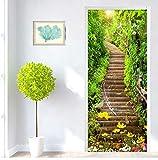 Adesivo Porta Autoadesiva 3D Verde Foresta Scale Carte Da Parati Soggiorno Wc Porta Adesivi Murali Pvc Decorazioni Per La Casa 91.4X213Cm