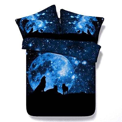 Galaxy Sky 3D Wolf Duvet Set Traumhafte Blau Mond Druck Bettwäsche Set Schlafzimmer Set 3 Stücke 1 Bettbezug 2 Kissenbezüge , 180X220Cm
