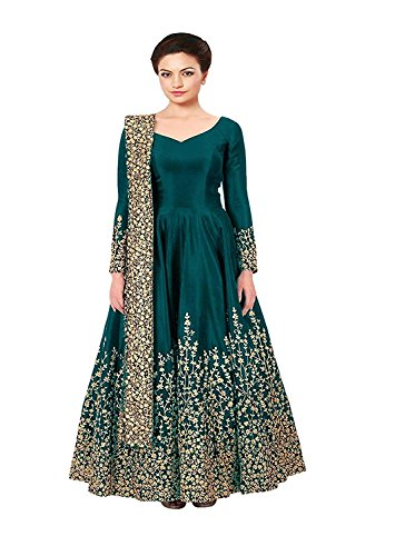 Queen of India Taffeta Silk Embroidered Semi-Stitched Anarkali Gown new design dress (Green_Free Size)