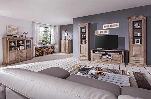Wohnwand, Eiche teilmassiv, trüffelfarbig gebeizt und lackiert, Maße: B/H/T ca. 267/203/45 cm