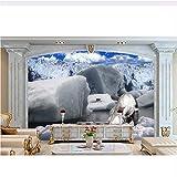 Qwerlp Wallpaper 3D Europäischen Ultra Clear Eisbär Tapeten Für Wohnzimmer Fototapete 3D Stereoscopic Wallpaper-210Cmx158Cm