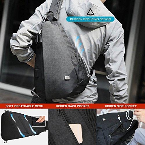 Mark Ryden Duo Serie Cross Schultertasche + USB Ladeanschluss Schwarz