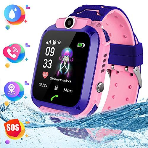 """Montre Smart Watch Tracker pour Enfants - Smartwatches pour Enfants IP67 étanche 1.4"""" Ecran Téléphonique Chat Conversation Réveil,Montre Intelligente pour Enfants de 3 à 14 Ans (Pink)"""