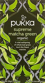 Pukka Supreme Matcha Green, Organic Herbal Green Tea with Sencha, 20 Tea Bags