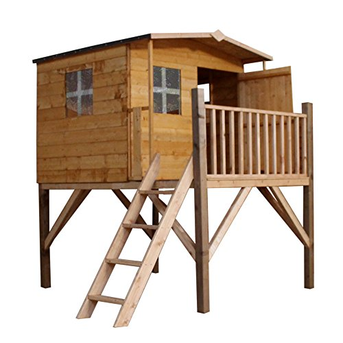 WALTONS EST. 1878 5x5 Wooden Garden Tower Playhouse for kids. Shiplap Construction, dip treated with 10 Year Anti Rot Guarantee - Includes Apex Roof, Felt and Floor, Safety Styrene Windows (5 x 5 / 5Ft x 5Ft) 3-5 Day Delivery