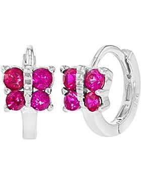 In Season Jewelry Kinder Mädchen - Creolen Ohrringe Schmetterling 925 Sterling Silber Heiß Klar Rosa CZ Zirkonia...