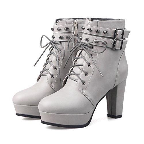 YE Damen High Heels Stiefeletten mit Schnürung und Reißverschluss Bequeme Blockabsatz Plateau Nieten Schnallen Herbst Winter Schuhe Grey