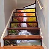 Frolahouse 3D Treppe Aufkleber Wald Wasserfall DIY Renovierung Treppen Aufkleber selbstklebende Treppen Fliesen Wandvinyl Wasserdicht Tapete Aufkleber Dekor Aufkleber 6PCS Set