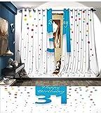 smallbeefly 30. Geburtstag Fenster Vorhang Tuch Graphic Kuchen Figur mit Kerzen auf die Abstrakt Bokeh Hintergrund dekorative Vorhänge für Wohnzimmer pink navy blau weiß, Polyester-Mischgewebe, Color12, 96