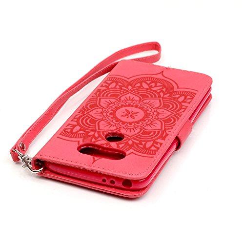 SainCat Coque Etui pour LG G5, LG G5 Coque Dragonne Portefeuille PU Cuir Etui, Coque de Protection en Cuir Folio Housse, SainCat PU Leather Case Wallet Flip Protective Cover Protector, Etui de Protect Campanula fleur,Rouge