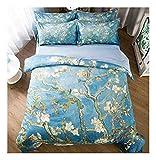 CSYPYLE Bettwäsche Set Kreative Chinesischen Stil Pflanze Blumenmuster Komfortable Weiche Schlafzimmer Bettwäsche Bettbezug Bettlaken Kissenbezug, 1,5 Mt