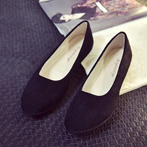 Ballerines Plates Pointure Large,OverDose Femme Casual Chaussures Mariage en Suède Style Mules Noir