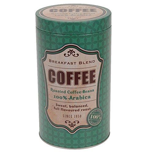 Kaffeedose aus Metall rund, 11 x 19 cm, Motiv Coffee, grün