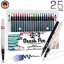 Brush Pen Set Pinselstifte - [ 20+2+3 ] für bildschöne Aquarell / Watercolor Effekte , Bullet Journal Zubehör und Hand-Lettering / Kalligraphie Zeichnungen - knallige Farben Stifte mit flexibler Echtpinsel-Spitze für atemberaubend Ergebnisse