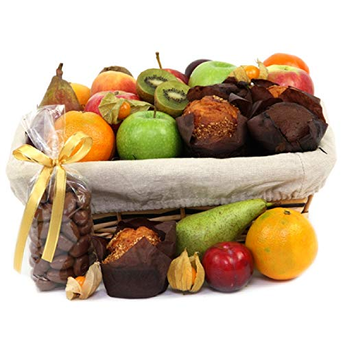 Fruit and Muffins Hamper - Fruit Gift Baskets and Gift Hampers with Next Day UK delivery with Personal Message Attached