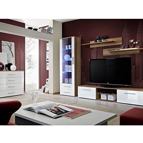 Paris Prix - Ensemble TV Mural 4 éléments galino II Wood Prunier & Blanc