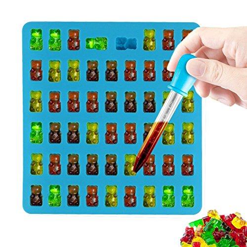 HENGSONG DIY Süßigkeit Silikonform 50 Mini Gummibärchen Form, Bonbonsform, Schokoladeform, Eiswürfel Form, Seifen Formen mit Pipetten Tropfenzähler (Blau)