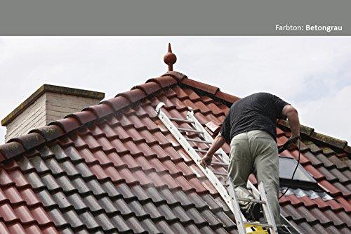 4,37EUR/KG - 24KG Dach Farbe Dachbeschichtung in Betongrau TÜV GEPRÜFT Ziegelfarbe Dachversiegelung Dachsanierung Dacherneuerung Metalldach Blechdach Flachdach Farbe Beschichtung