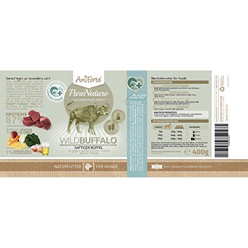 AniForte® PureNature Nassfutter 5+1 getreidefrei Probierpaket 6x400g Huhn Büffel Wild Lamm Rind Hundefutter- Naturprodukt für Hunde - 5