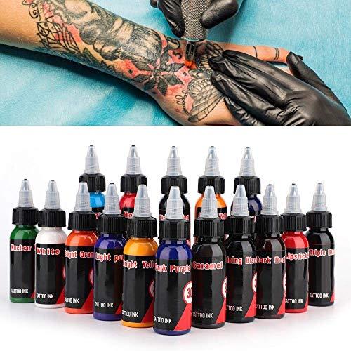 Tattoofarbe,Tattoofarbe Set mit 16 Farben 30 ml jede Flasche Permanent Make-up Pigment für Body Art Permanent Augenbraue Eyeliner Ganzkörper