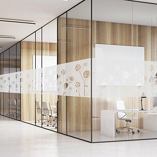 FANCY-FIX selbsthaftende Fensterfolie mit Löwenzahn-Motiv statische Sonnenschutzfolie – UV-Schutz & Sichtschutz – Milchglasfolie
