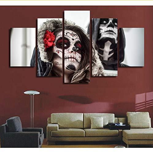 (Rureng5 Panel Der Toten Schädel Gesicht Poster Moderne Home Decor Leinwandbild Kunst Hd Druck Malerei Auf Leinwand Für Wohnzimmer 20X35 20X45 20X55Cm)
