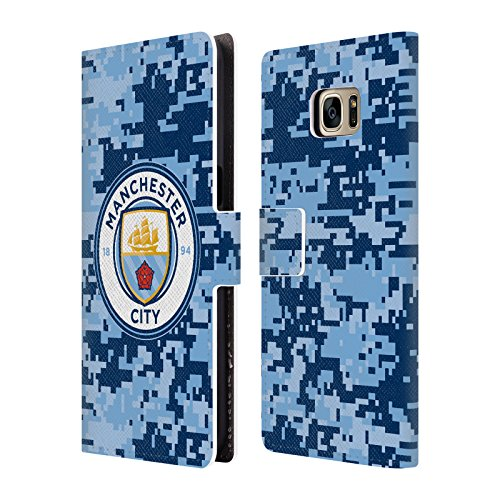 Officiel Manchester City Man City FC Brique Bluemoon Camouflage Numérique Étui Coque De Livre en Cuir pour Samsung Galaxy S7 Edge