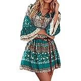 HOT!!! Amlaiworld Femmes Robe Imprimé floral Robe bohème trois quarts Robe de soirée de dames