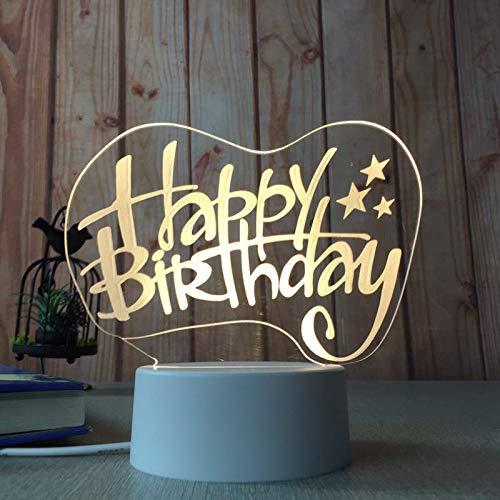 Lanbba Happy Birthday Warm Light Led 3D Nachtlichtschalter Modell Geschenk Acryl Cartoon Paar Tischlampe Valentinstag Geschenk