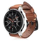 Fintie Echtleder Armband für Samsung Galaxy Watch 46mm / Gear S3 Frontier/Gear S3 Classic Smartwatch - Uhrarmband aus Premium Echtleder Ersatzband mit Edelstahlschnalle, Braun