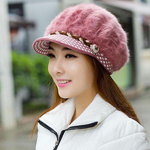 Frauen Beret Winter Warm Knit Hut Wolle Schnee Ski Caps mit (Lila Hut Samt Fedora)