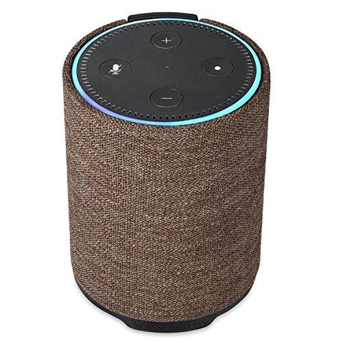 Lautsprecher und Akku für Echo Dot der 2. Generation - tragbarer 360° HD-Lautsprecher mit eingebauter 7000 mAh Power Bank für Echo Dot, von Wasserstein (Braun)