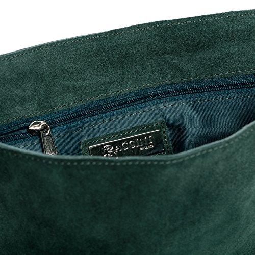 973f9da0242b4 ... BACCINI Schultertasche SARAH - Umhängetasche klein - Damentasche mit  Fransen - echt Wildleder blau grün ...