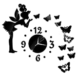 Angel Fairy Butterfly Wall Quartz Clock Watch with 3D DIY Acrylic Mirror Wall Decal for Living Room Kids Girls Bedroom Office Nursery Modern Decoration (Black)