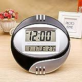 AFGD Digitales Thermometerinnenthermometer, Elektronische Uhr, Leiser Wecker, Schläfrigkeit, Schwarz