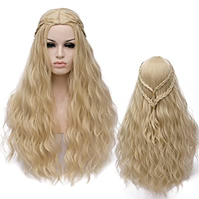 Amback Long Curly Braid Cosplay Wig for Game of Thrones Daenerys Targaryen khaleesi