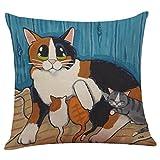 Clearance! Ubabamama Cute Cat Sofa Bed Home Decoration Festival Pillow Case Cushion Cover (I)