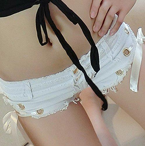 Femme Shorts En Denim Taille Basse Jeans Hot Shorts Pantalons Courte Mini Shorts Blanc